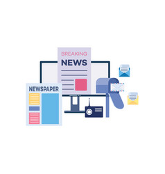 outbound marketing with newspapers and news vector image
