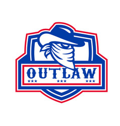 Outlaw cowboy mascot shield vector