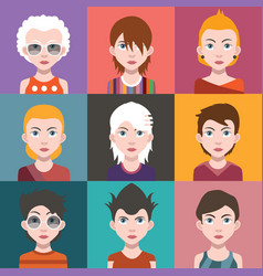 People avatars with colorful backgrounds vector