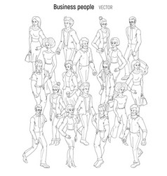 people crowd sketch outline black and white style vector image