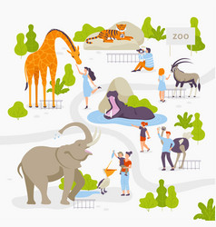 people love and look at wild animals in the zoo vector image