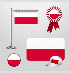 Poland country flag haning on pole ribbon badge vector