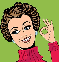 Pop art cute retro woman in comics style making OK vector