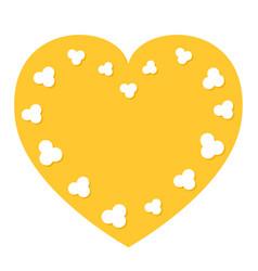 Popcorn flying heart shape frame i love cinema vector
