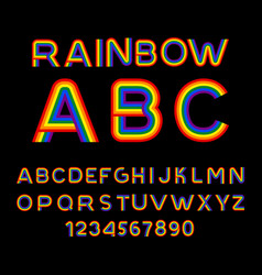 rainbow font lgbt letters abc for symbol of gays vector image