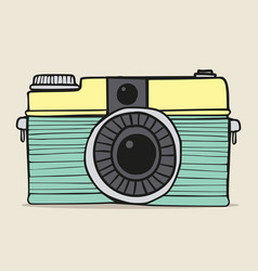 retro camera doodle hand-drawn vector image