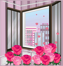romantic view through window roses and vector image