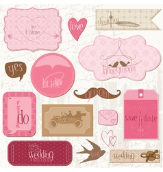 Romantic wedding tags vector
