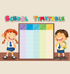 School time table with student vector