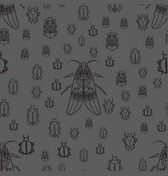 seamless pattern with black bugs vector image