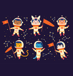 Set animal astronauts in space suits vector