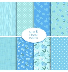 set eight seamless floral backgrounds vector image