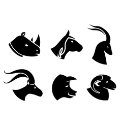 Set of black animal head icons vector image