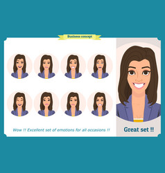 set of woman character expression isolated vector image