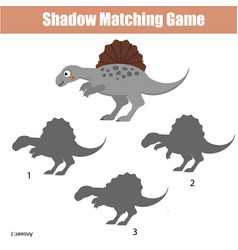 shadow matching game kids activity with dinosaur vector image
