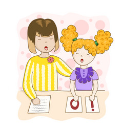 Speech therapy homework with a speech therapist vector