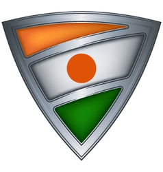 steel shield with flag niger vector image