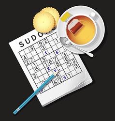Sudoku game mug of tea crackers vector