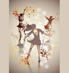 three dancing girls vector image