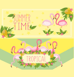 Tropical summer time horizontal banners design vector