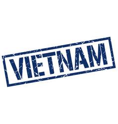 vietnam blue square stamp vector image