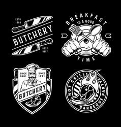 Vintage cooking emblems set vector
