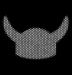 white halftone horned helmet icon vector image