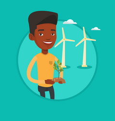 worker of wind farm holding green small plant vector image