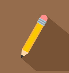 yellow pencil with eraser icon flat style vector image