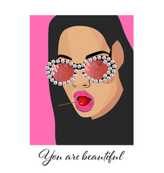 you are beautiful typography slogan with girl vector image