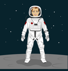 young astronaut standing on the moon surface vector image