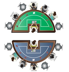 Casino furniture Poker table top view set 6 vector image vector image