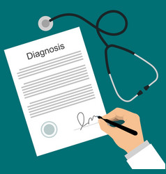 doctor puts signature in the diagnosis list vector image vector image