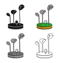golf ball and clubs on grass icon in cartoon style vector image