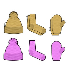 Set clothes for cold weather Winter knitted vector image vector image