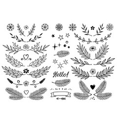 set of branches snowflakes flowers design vector image vector image