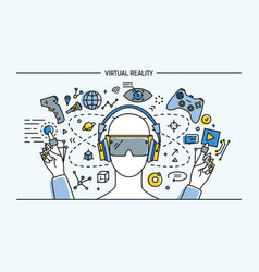 virtual reality lineart banner colorful vector image