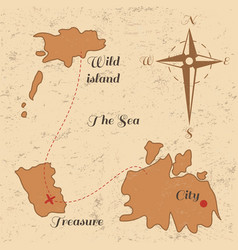 vitage poster with old treasure map and wind rose vector image vector image