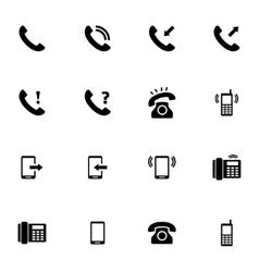black telephone icons set vector image