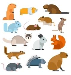 Cartoon rodents animals set vector image vector image