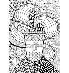 Coffee patterned background for adult coloring vector image