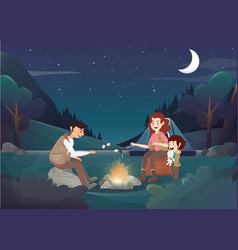 cozy family camping in the night vector image