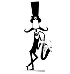 funny in the top gentleman saxophonist isolated vector image vector image