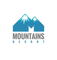 M letter mountains logo template vector image