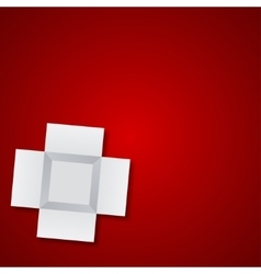 modern open box on red background vector image vector image