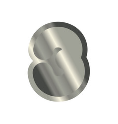 number 3 steel metal font three silver alphabet vector image