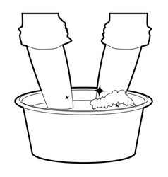washing in the basin icon outline vector image