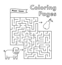 cartoon pig maze game vector image vector image