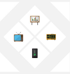 flat icon life set of television cellphone vector image vector image