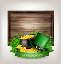 saint patricks day background with a green hat vector image